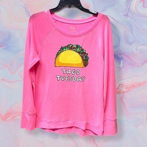 Taco Tuesday pink glitter sweatshirt girls size 20